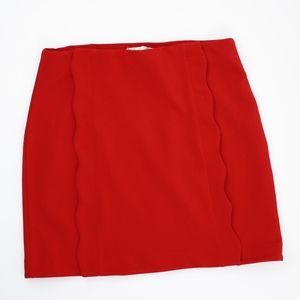 Twik Skirts - Twik Red Fitted Skirt, Scalloped Panel, Large